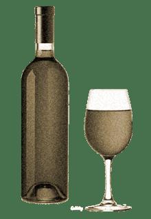 бутылка и бокал с вином